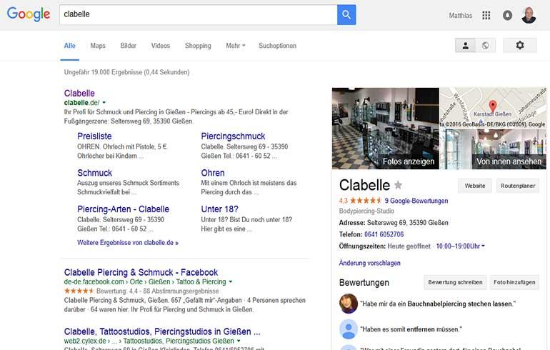 Clabelle Google-Suche