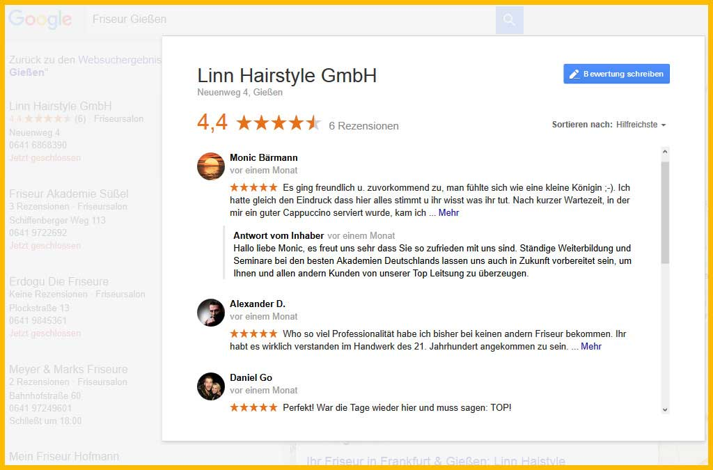 Online Bewertungen Webdesign Giessen
