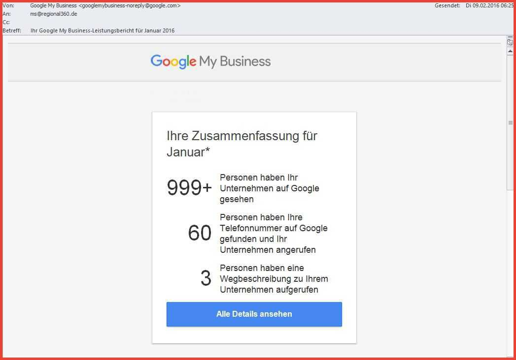 Google My Business Leistungsbericht